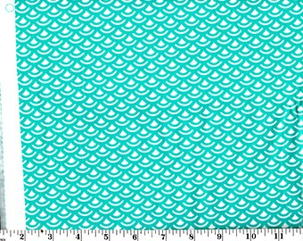 1 Yard and 18 inches, Scale Tile Teal and White