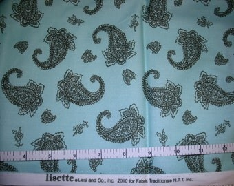 1 Yard, Lisette Fabric Tradition Brown Paisley on Mint