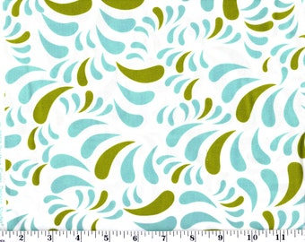 1 Yard, Blue and Green on White Brother Sister Studio