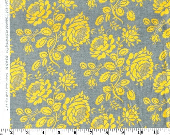 1 Yard, Yellow Floral Stem on Gray