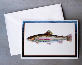 Rainbow Trout Blank Note Card or Set of Cards Photographic Print from Original Painting