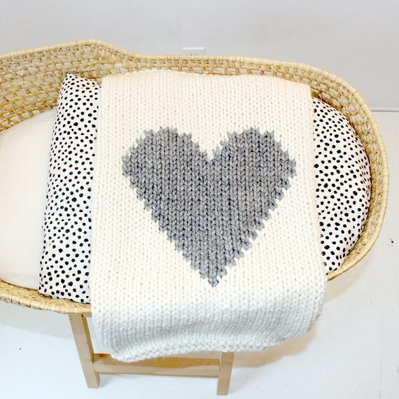 Baby Blanket Heart Cream and Grey Hand Knit for by YarningMade