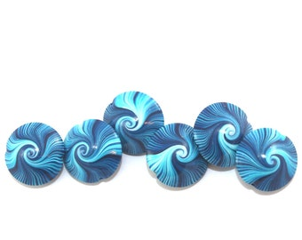 Polymer Clay beads, swirl lentil beads in blue, turquoise and white, unique pattern, elegant beads Set of 6