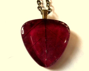 Red Autumn Pressed Leaf Glass Necklace