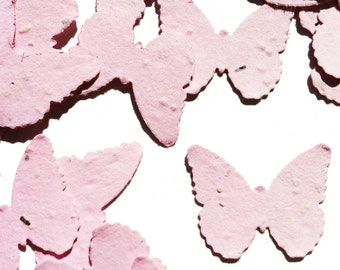 Pink Butterfly Shaped Plantable Seed Paper Confetti, Wildflower Seed, Recycled Paper  - 100 Pack