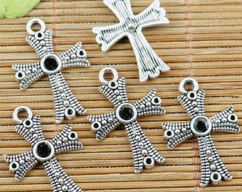 30pcs tibetan silver cross cabochon settings EF1315