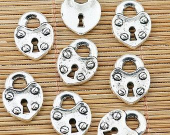 20pcs Tibetan silver heart lock charm pendants EF1329