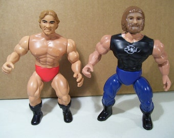 Vintage Lot of 2 AWA Long Riders Wrestling Action Figures, Scott Hog Irwin & Larry Zbyszko, 1982 1985 Remco