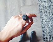 Small Wood Gem Ring-Black