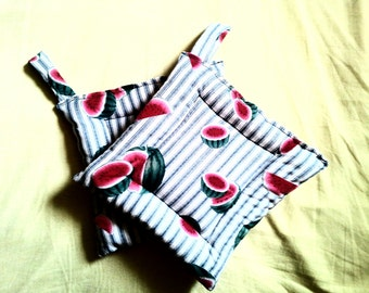 Hand-Crafted  Pot Holder Set- Watermelons