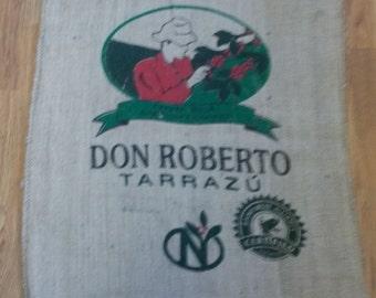Burlap Coffee Sack Don Roberto Tarrazu Coffee House Decor Rustic Bag Rain Forest Alliance