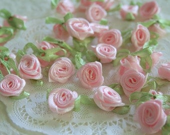 Mini Satin Roses, Millinery Scrapbooking, PALE PINK