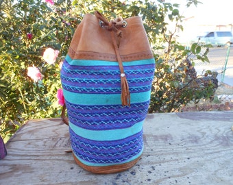 Vintage Tapestry LARGE Bucket Drawstring Backpack Distressed