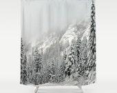 Winter Wonderland - Fabric Shower Curtain  - Pacific Northwest Winter Storm Mountains, RDelean Designs