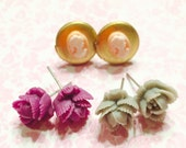 resin flower jewelry- tiny rose earrings set- small resin flower posts earrings- romantic jewelry