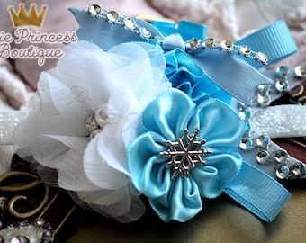Winter Wonderland - Headband, Baby Headband, Photography Prop, Couture Headband, Snowflake Headband,Winter Headband, Blue White Headband