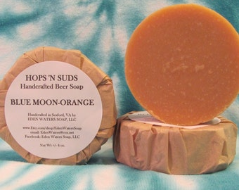 HOPS 'N SUDS Handcrafted Beer Soap-Blue Moon and Orange