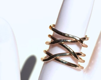 14K Gold Filled Twisted Ring, Thick Hammered Stacking Ring