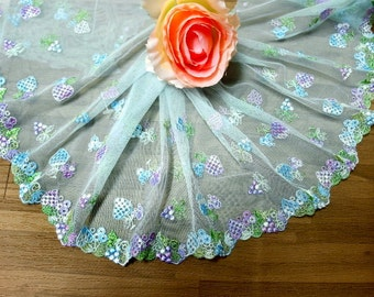 """DN653-  7 """" Lt Blue Embroidered  Tulle Mesh Lace /Bridal/Lolita/ Trim by Yard"""