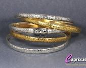 "Sale - Two Tone Hammered Set of 5 Bangle Bracelet 24K Yellow Gold Vermeil Over 925K Sterling Silver - Half Round, Domed, 5mm, 65mm (2,55"")"