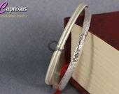 """Handcrafted Designer Set of 2 Hammered & Satin Matte Finish Half Round Domed Solid 925K Sterling Silver Bangle Bracelet - 5mm, 65mm (2,55"""")"""