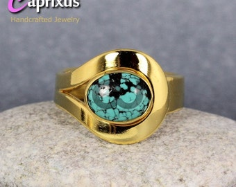 Handcrafted Designer 24K Yellow Gold Over 925K Sterling Silver Natural Cabochon Turquoise Solitaire Ring - Handmade Turkish Jewelry
