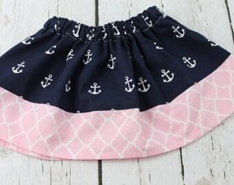 Nautical Baby Girl Skirt  Anchor Toddler Skirt Spring Skirt Girls Skirt, 1st Birthday Skirt, Baby Girls Twirl Skirt, Vacation Skirt
