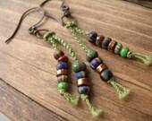 Copper Picasso Macrame Earrings,  Antique Copper Earrings,  Dangle, Drop Earrings
