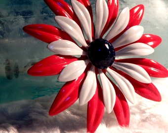 Red White Blue - Enamel Flower - Circa 1960's - Beautiful Condition