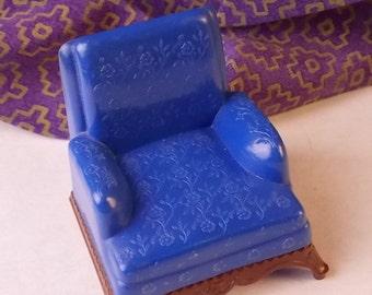 Doll House Renwall Blue Chair - Dollhouse Circa 1950's Blue Chair