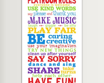 Printable PlayRoom Rules for home or School and Kindergarten - Size 12x18 - INSTANT DOWNLOAD