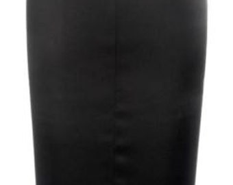Baylis & Knight Black Satin NELL Pleat High Waisted Wiggle Pencil Skirt Dita Burlesque Pin Up 50's Classic