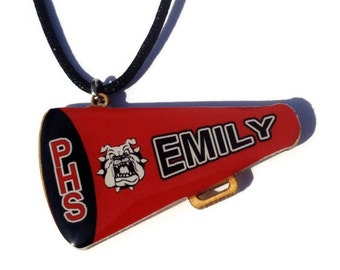 Cheer Mom gifts, Cheerleader Necklace, Personalized Name, Custom Colors, Megaphone Pendant, Cheer Horn,  Cheer Mom gifts, Holiday