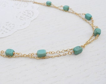Double strand turquoise necklace, Turquoise gold necklace, December birthstone