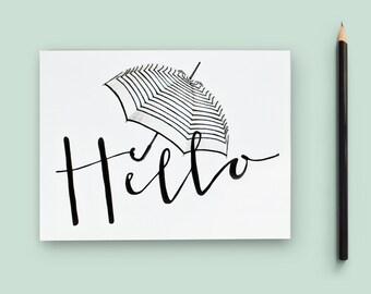 Hello Notecard Set/ Blank Umbrella Stationery Cards