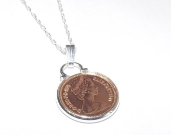 1975 British half pence coin pendant  for 43rd birthday plus a Sterling Silver 18in Chain