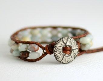 Rustic amazonite bracelet. Bohemian style hippie bracelet