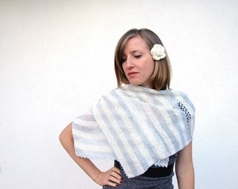 Wrap, knitted, shawl, crochet, lace, off white, ivory, pale blue