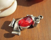 red resin Stone charm pendant silver color with sterling silver plated 8 micras coat