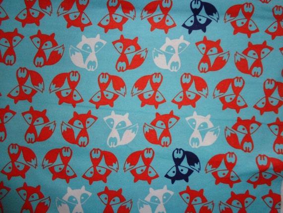Blue/Orange Fox Flannel Fabric by the Yard by DDDesighns ...