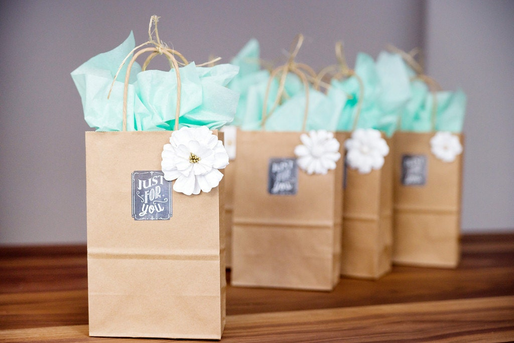Small Wedding Gift Bags: 75 Small Brown Kraft Paper Bags With Handles