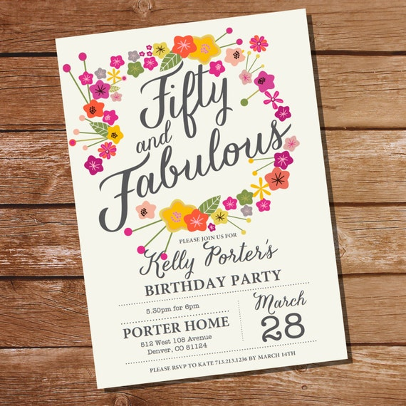 Floral Birthday Invitation Fifty and Fabulous 50th birthday