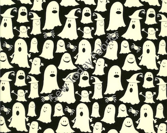 Glow Ghosts - Timeless Treasures BOO-CG2371-BLACK (sold by the 1/2 yard)