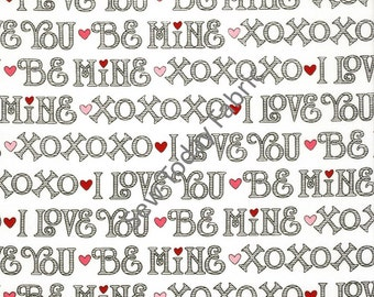 I Love You Words on White - I Love You Collection by Marie Cole from Henry Glass Fabrics 6291-89 (sold by the 1/2 yard)