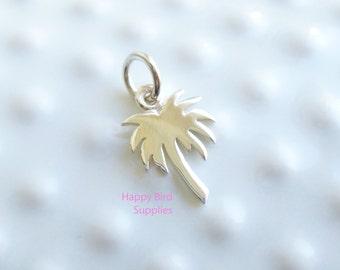 Sterling Silver Palm Tree Charm -- 1 Piece -- Tiny Beach Pendant