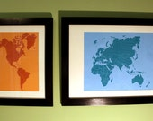 "Framed Hemispheres Screen Prints (pair) 30""x20"" & 12""x20"""