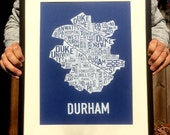 Durham, North Carolina Neighborhood Screen Print Map