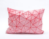 "White and Red geometric pillow cover 55x40 cm, 21.6X16 "", Printed origami cushion Home decor accessory"