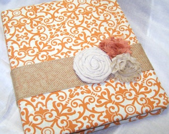 Recipe Binder - Recipe Dividers, Orange and Ivory Medallion, Burlap Ribbon, Fabric Covered Recipe Notebook
