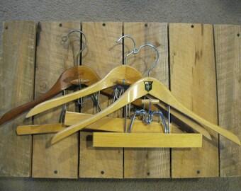 3 Double Suit Hangers-Vintage Wooden Hangers-Wood Suit Hangers-Retro Trouser Hangers-Vintage Hangers-Setwell Hanger-Wood Pant Hangers